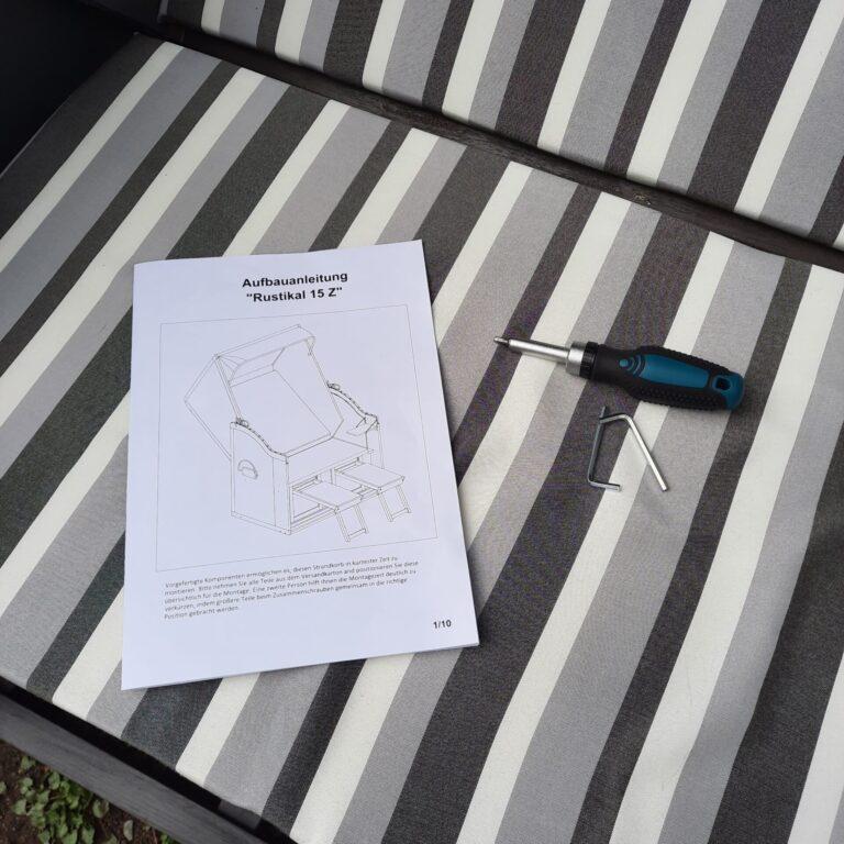 Aufbauanleitung und Werkzeug für Strandkorb Sunny Rustikal